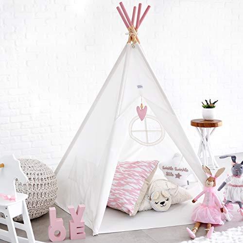 Hippococo tenda da campeggio teepee pieghevole per bambini e bambine   area gioco per bambini per esterno e interno in tela, con tappeto, accessorio decorativo incluso – ebook in omaggio (rosa)