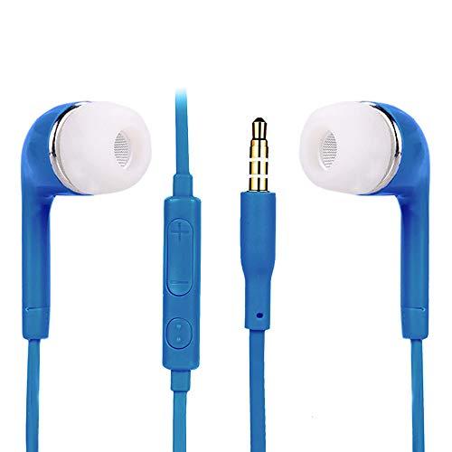 Y56 3,5-mm In-Ear-Stereo-Ohrhörer Stereokopfhörer Kopfhörer mit Mikrofon mikrophon für Samsung Galaxy (Blau) - Ohrhörer Kabelsalat Ohne