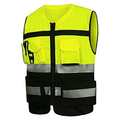 Gilet de sécurité, haute visibilité avec des bandes réfléchissantes et 2 poches de classe, unisexe (Jaune et noir, L)