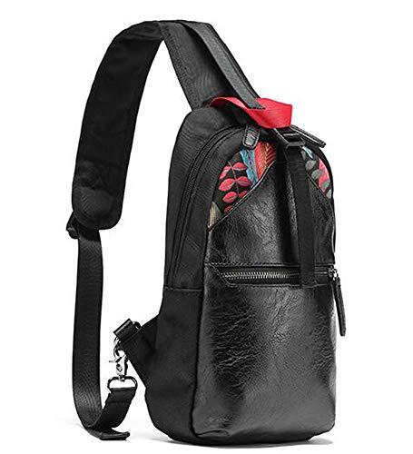 XGBDTJ Handtaschen Herren Sling Tasche Pu Leder Blatt Muster Brust Schulter Rucksack Mode Living Cross Body Wallet Herren Täglich Shopping Handtasche Taschen (Color : Colour, Size : One Size) -
