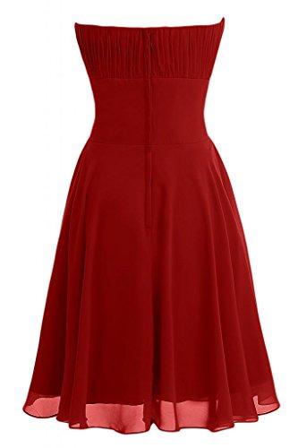 Sunvary donna A-Line senza spalline abiti da damigella d'onore, in Chiffon, colore: tè Rosso