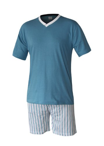 Herren Schlafanzug kurz Herren Pyjama kurz Herren Shorty Schlafanzug aus 100% Baumwolle (XXXL, oberteil türkis/hose gestreift)