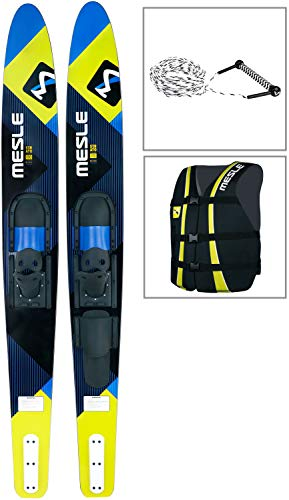 MESLE Combo-Ski Package Strato 170 cm mit Weste Sportsman + Leine Combo, Wasserski für Jugendliche und Erwachsene, blau-Lime