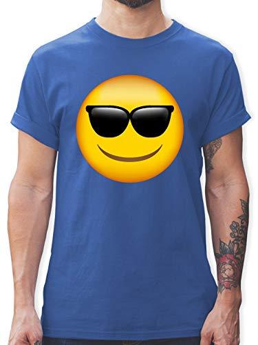 Comic Shirts - Emoji Sonnenbrille - L - Royalblau - L190 - Herren T-Shirt und Männer Tshirt