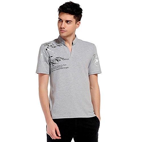 anpola Sommer V-Ausschnitt Slim Fit Kurzarm Bedruckte Tee Poloshirts Top Bluse (Big And Tall Kostüme Für Männer)