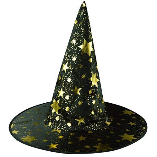 Hexenhut Spitzen Hut Sterne Bedruckte Kappe Halloween KostüM ZubehöRteil Hat FüR Erwachsene Damen Herren Kinder Fasching Karneval (Schwarz) ()