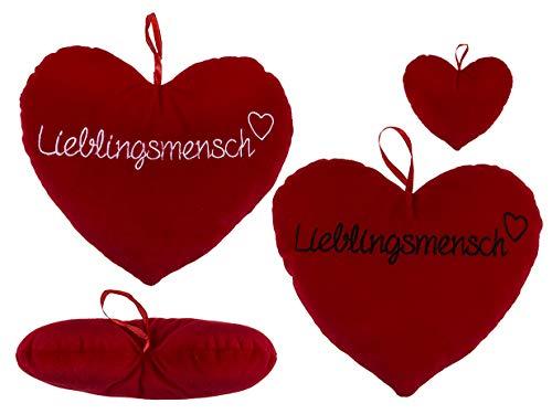 Kamaca 2er Set Flauschig gefülltes Kissen LIEBLINGSMENSCH Plüsch - Herzkissen in ROT inklusive Füllung Größe je 26 cm x 20 cm (2er Set Rotes Plüsch Herz Lieblingsmensch 26 cm) -