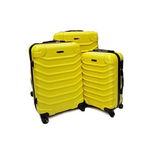 SLmilano Valigia Fino a Set 3 Trolley Rigido grande, medio e bagaglio a mano 4 ruote in ABS 2026 (giallo, Set 3pz S+M+L)