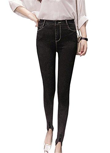 DaBag Donna Jeggings Elastici Leggins Vita Alta Jeans Pantaloni Stretti Ghette da Donne Nero