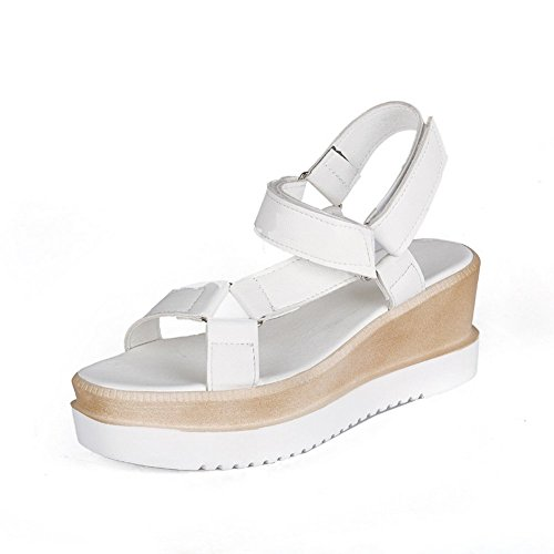 Adee Mädchen Klett ankle-cuff Polyurethan Sandalen, Weiß - weiß - Größe: 40 (Mädchen Gladiator Sandles)