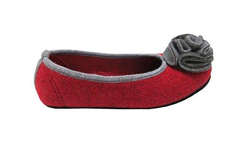Hausballerina für Damen aus roten Filz mit grauer Blume Rot