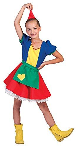 Party Themen Fantasy Kostüme (Zwerg Kostüm Merit für Kinder Gr. 104 - Tolles buntes Zwergen Wichtel Elfen Kostüm für Familien und Gruppen zu Karneval oder)