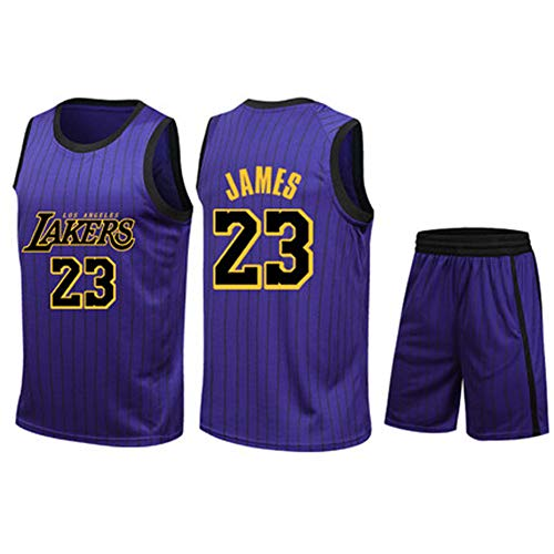 LCBH Los Angeles Lakers Trikots Basketball Uniform Top \u0026 Short, Wright 23 King James Basketball Trikots-XXXL, 90er Jahre Hip Hop Kleidung für Party-3-S