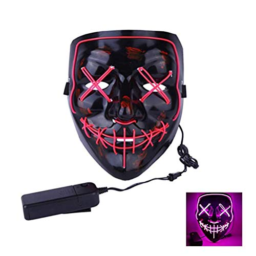 QIH Halloween-Maske LED Light Purge Mask Für Festival Cosplay Halloween-Kostüm,Pink