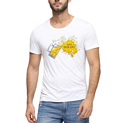 Chejarity Herren Bayerische Oktoberfest Kostüm T-Shirts 3D Gedruckt Muster Kurzarm Slim Fit Einfarbiges Comfort Bluse Sommer Lässige Wiesn Freizeit Tops Traditionelle Bekleidung (XL, Weiß) -