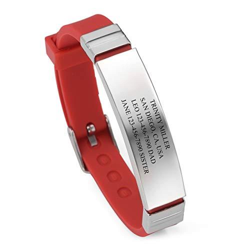 Zysta Personalisiert Gravur - Verstellbar Silikon Edelstahl SosArmband/ID Armband/Medical Alert Armband für Männer Frauen Kinder (rot) (Medical Alert Armband Frauen)