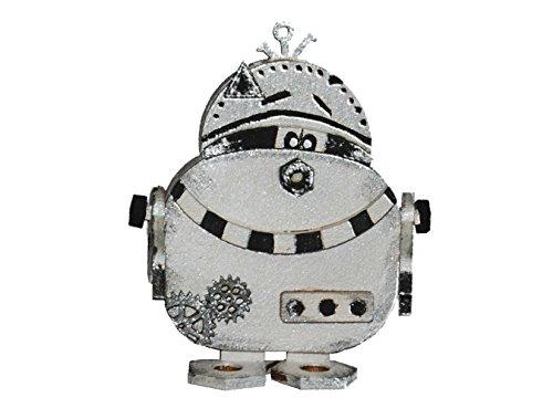 Petra's Bastel News A-ROB2608S3 3 x Holz-Bastelset Roboter P/B zwo, Circa 80 mm mit Passenden einglasigen Brillen, holzfarbe, 15 x 15 x 5 cm