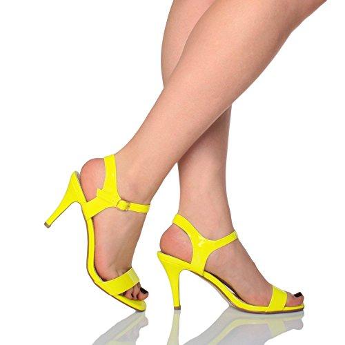 Noite De De Neon À De Partido Entrave De Tamanho Casamento Alta Senhoras Vendas Sapatos Sandálias Tiras Cinto Amarela qROCgx