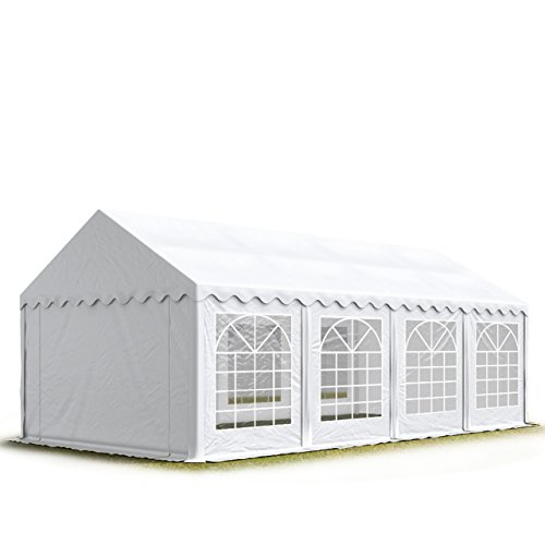 TOOLPORT Party-Zelt Festzelt 4x8 m Garten-Pavillon -Zelt 500g/m² PVC Plane in weiß Wasserdicht