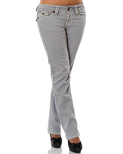 Damen Jeans Straight Leg (Gerades Bein Dicke Nähte Naht weitere Farben) No 12923 38 Grau