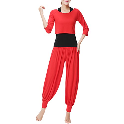 Zhhlaixing Womens Yoga Three-piece Set Outfits Fashion Solid color Fitness Sportswear Red