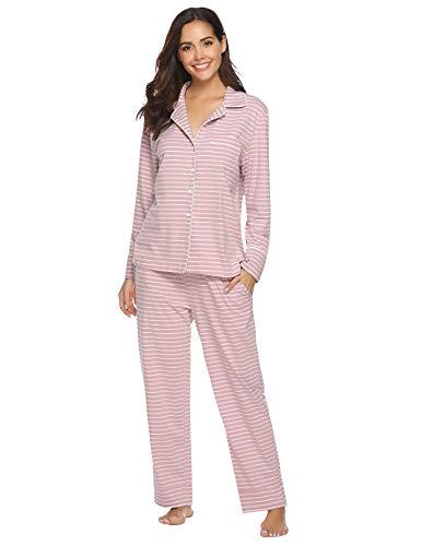 Aibrou Damen Schlafanzug Pyjama Lang Gestreift 100{d5fd5176cf030696dcf7a19214111c96472664628fccb3e401da36c178e7d491} Baumwolle Winter Warm Nachtwäsche Sleepwear mit Knöpfeleiste Rosa M