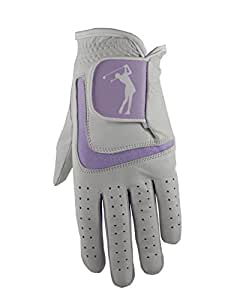 Ladies Cabretta Leather Golf Glove with Lilac Lycra