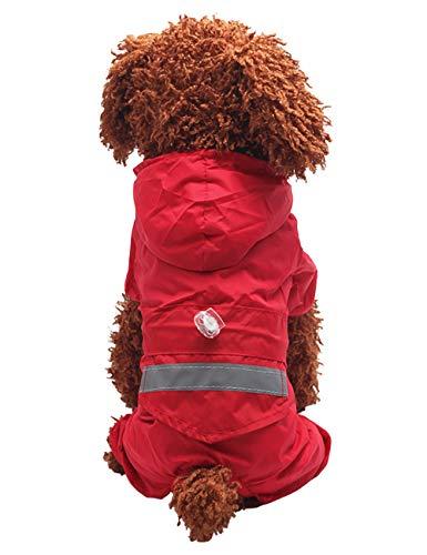 Zhuhaitf Reflektierend Hund Regenjacke Hundejacke Regenmantel Hunderegenmantel Winddicht mit Kapuze & Kragenloch für Kleine Hund