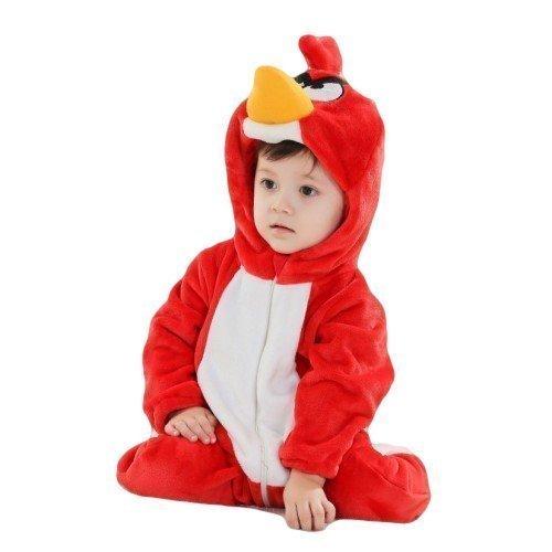 Kinder Jungen Mädchen Baby Rot Angry Birds Plush Velour Einteiler Mit Kapuze Schneeanzug Kostüm Kleid Outfit - Rot, 6-9 months (70cms)