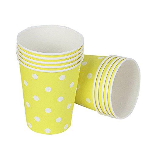 (Remeehi 20Polka Dot Papier Tassen Fall Einweg Geschirr Hochzeit Geburtstag Dekorationen Picknick Geschirr, gelb, Cup)