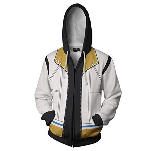 Yujingc 3D Digitaldruck Kingdom Hearts Hoodie Cosplay Kostüm Pullover Reißverschluss Jacke Sweatshirt Anime Langarm Outdoor Hoodies,White,2XL