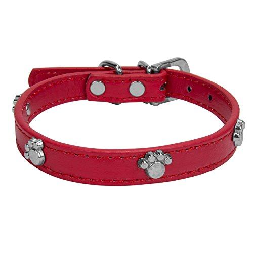 CueCue Pet Collare Regolabile Per Animale di zampa Cane Gatto in Cuoio PU (S Rosso)