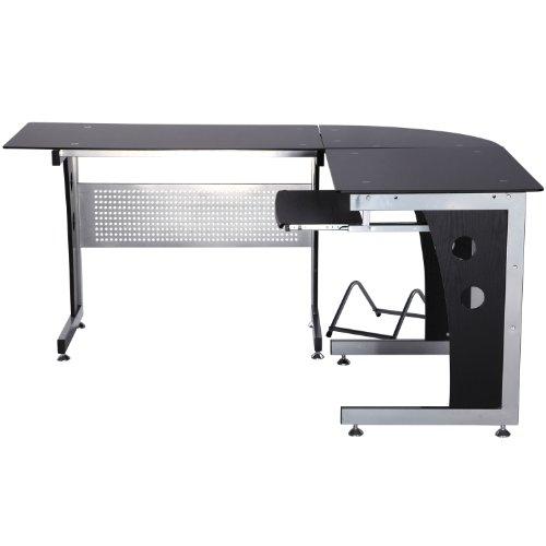 Mesa de Oficina Tipo Escritorio para Ordenador de Cristal ala Esquinera