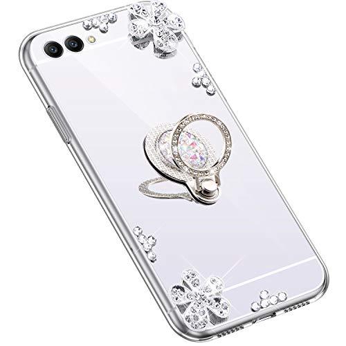 Uposao Kompatibel mit Huawei Honor View 10 Hülle Glitzer Diamant Glänzend Strass Spiegel Mirror Handyhülle mit Handy Ring Ständer Schutzhülle Transparent TPU Silikon Hülle Tasche,Silber