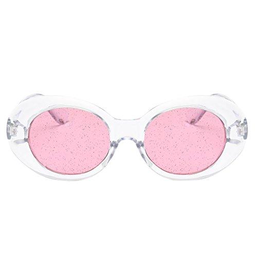 Homyl Mode Polarisierte Oval Sonnenbrille Für Damen UV400 Glitzer Linsen Brillen - Klares Rahmen-Rosa-Objektiv
