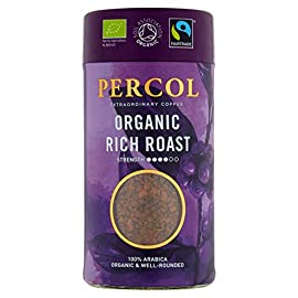 PERCOL Fairtrade Organic Rich Roast Instant Coffee Certified Organic, Strong, Dark, Well-Rounded Blend with 100% Arabica Beans – 100g 6 Pk
