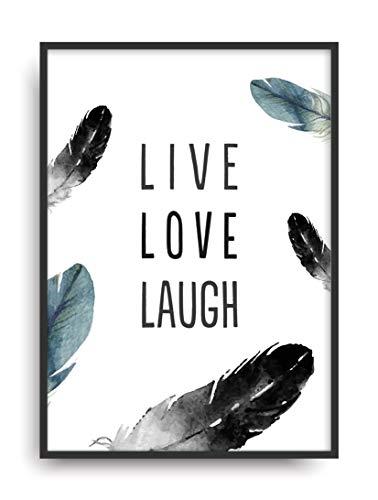 Fine Art Kunstdruck LIVE LOVE LAUGH Poster Print Plakat moderne Vintage Deko Bild ohne Rahmen DIN A4 Geschenk (Leben, Lieben, Lachen Bilderrahmen)