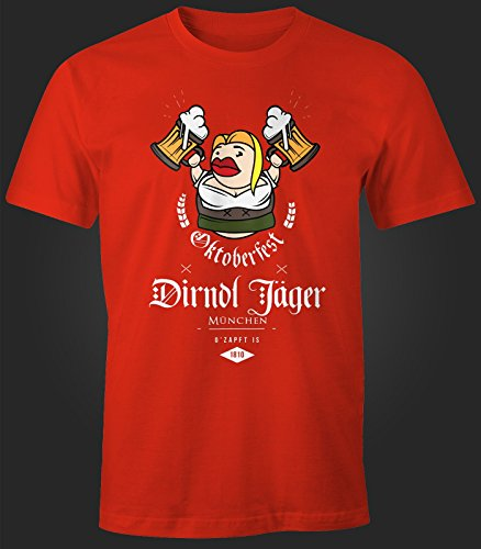 Herren T-Shirt - Oktoberfest Dirndl Jäger - Comfort Fit MoonWorks® Rot