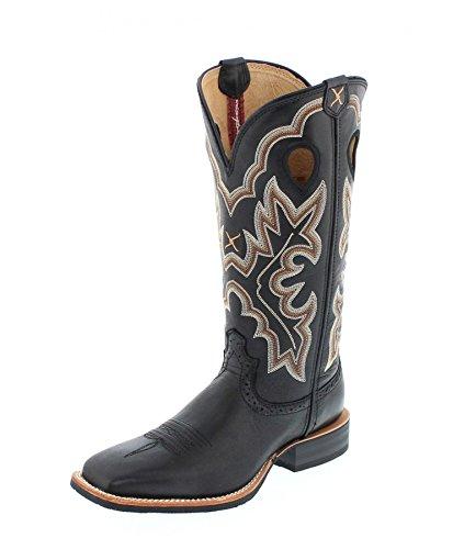 Twisted X Boots Damen Westernreitstiefel1781 Ruff Stock Schwarz, Groesse:38 (7 US) (Größe Stiefel 7 Cowboy Damen)
