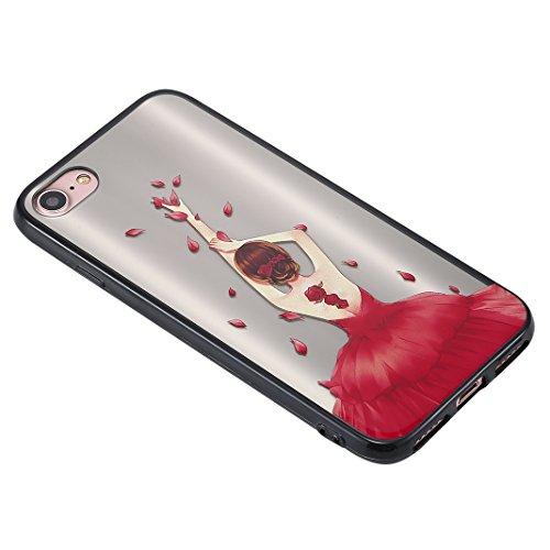 iPhone 7 Spiegel Hülle, Rosa Schleife Weiche TPU Silikon Schutzhülle Handyhülle Backcover Glitzer Mirror Cases mit Schmetterling schönes Mädchen Muster Design für iPhone 7 Lila Schmetterling Kleid Rot Petals Mädchen