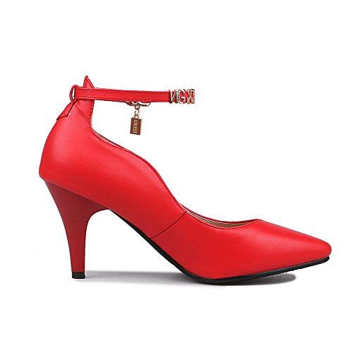 AgooLar Damen Schnalle Spitz Zehe Hoher Absatz Pu Leder Rein Pumps Schuhe Rot