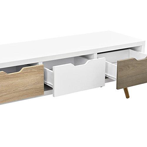 41 %2BQ3kdjDL - [en.casa]®] Mesa de TV-/ Lowboard/Mueble de televisión con 3 cajones (120x39x39cm) - Blanco
