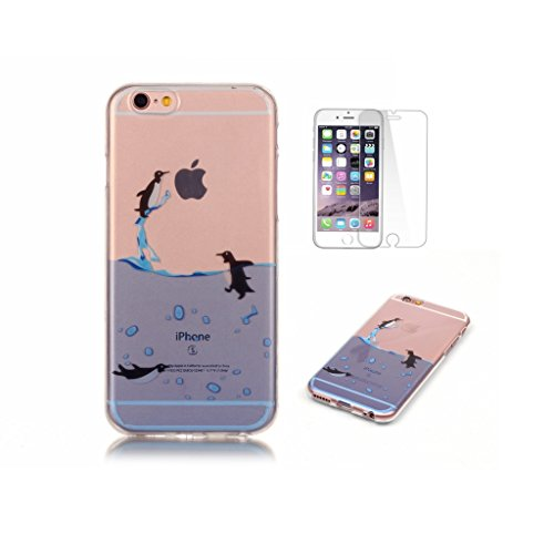 Fatcatparadise iPhone 6S Plus/iPhone 6 Plus Case[With Tempered Glass Screen Protector], Silicone Cover,Colorful Cute Pattern Design TPU Protective Case For Apple iPhone 6S Plus/iPhone 6 Plus(Penguin)