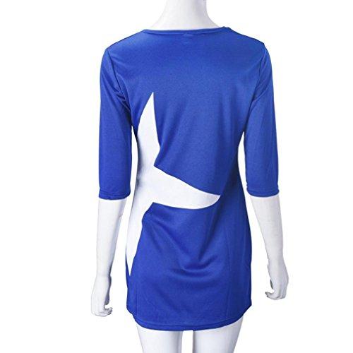 Tonsee Femmes Casual Lâche Star Imprimé Moitié Manchon Court Mini Robe Sport Vêtements Bleu