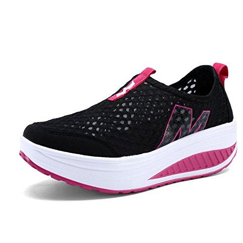 Chaussures plates pour femmes / dames Chaussures à talons hauts à coussin d'air d'été beaucoup de style à choisir 3308BLACK