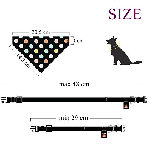 Poppypet Halstücher für Haustier, Mode Design Halstuch für Hunde oder Katzen, Hunde Bandana Bequeme Stoffe Haustier Schal Punkte Muster 29cm- 48cm Verstellbare Schwarz - 5