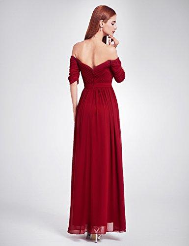 Ever Pretty Damen Abendkleid Ruched Bust Off Shoulder mit tiefem Ausschnitt lang Kleider Sommerkleid, geeignet für Cocktail, Hochzeit, Abendparty als auch Engagement,Homecoming Burgundy
