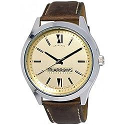 Triarrows Classic Herren-Armbanduhr 45mm Armband Leder Braun Gehäuse Edelstahl Quarz Analog TOL05