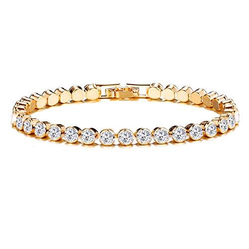 Imagen de opalqkn pulseras de tenis de moda para mujeres niñas micro crystal braslet best friend charm braclet
