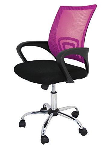 La Silla Española - Ribadeo oficina sin reposacabezas, poliéster y rejilla, 61 x 58 x 89 cm, reposabrazos, con ruedas, altura ajustable, rosa